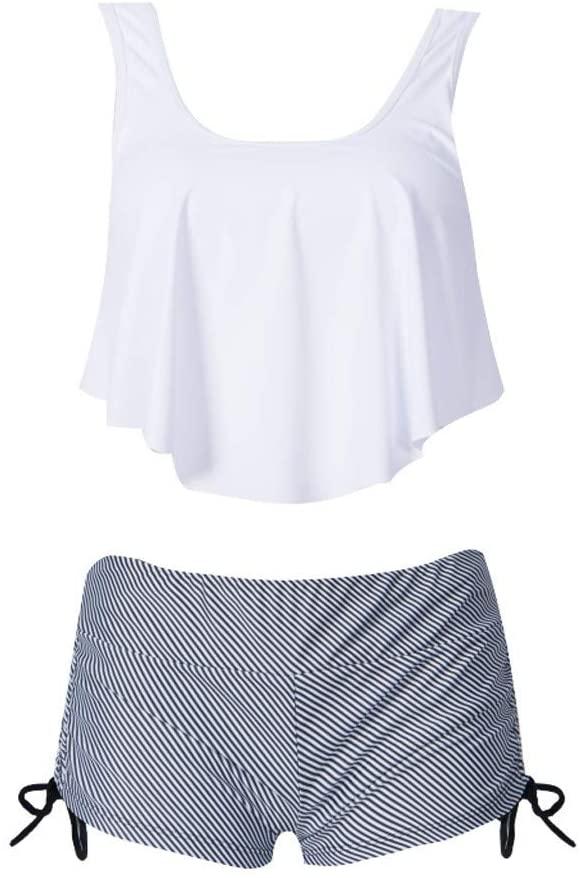Swimsuits for Women Two Piece Flounce Print Racerback Top with Boyshorts Bikini Set Bathing Suit 2020 Summer