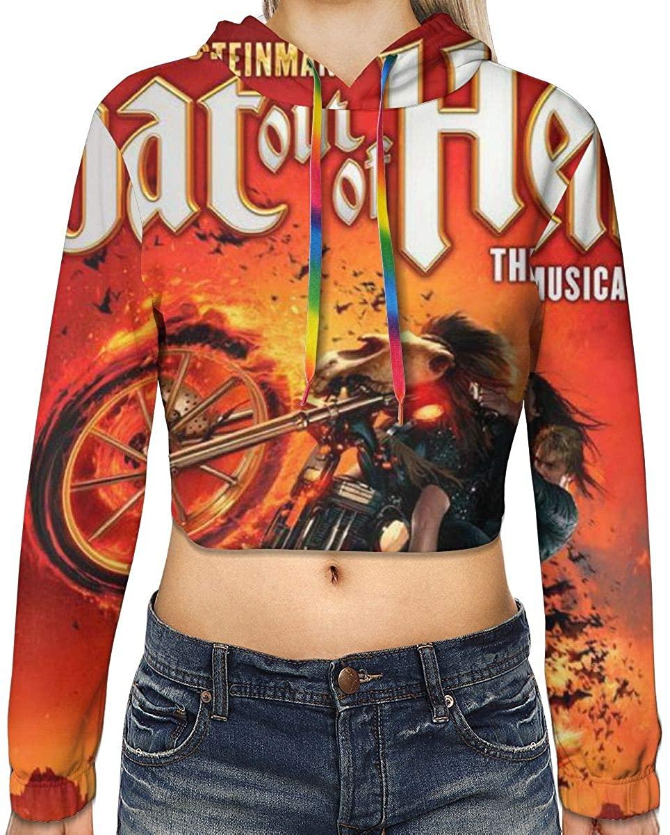 Women's Bat Musical Long Sleeve Sweatshirt Hooded Girls Crop Top Hoodies