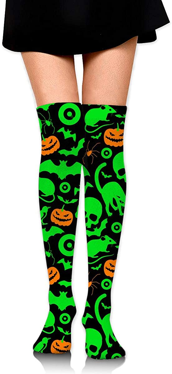 Dress Socks Halloween Cat Skull Pumpkin Lantern Long Knee Hose Hold-Up Stockings