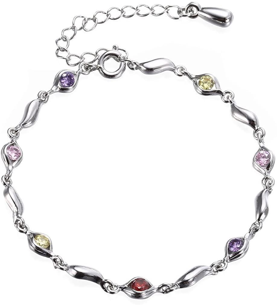 YAZILIND Platinum Plated Adjustable Link Bracelet Oval Shape Inlaid Cubic Zirconia for Women