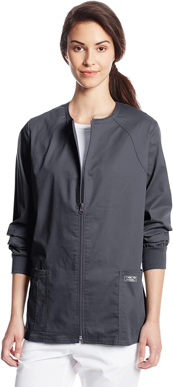CHEROKEE Women's Workwear Core Stretch Warm Up Scrubs Jacket, Pewter, XXXX-Large