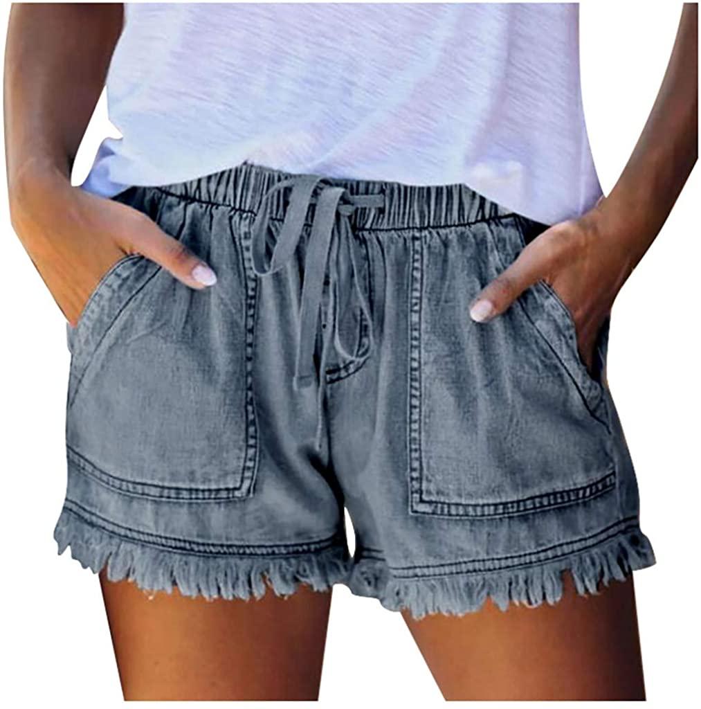 LEKODE Women Jeans Denim Female Pocket Tassel Bandage Fashion Casual Shorts