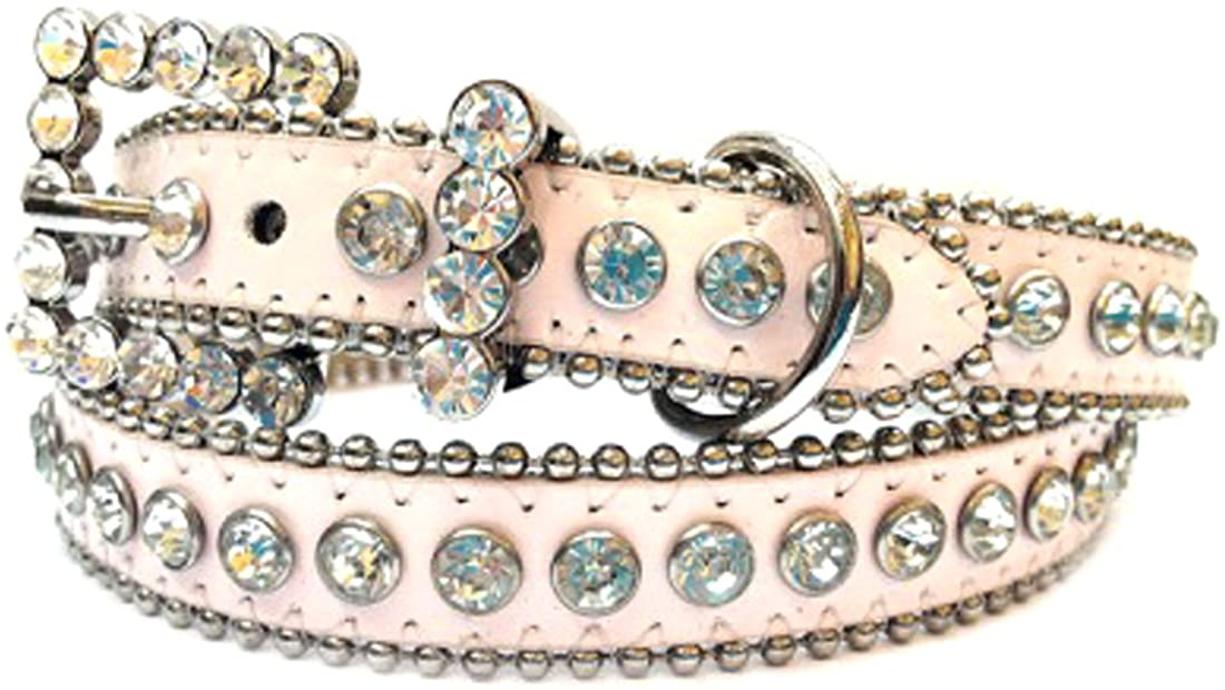 Light Pink Leather Belt, Decorated with Clear Rhinestones and Rhinestone Belt Buckle, Size S/M