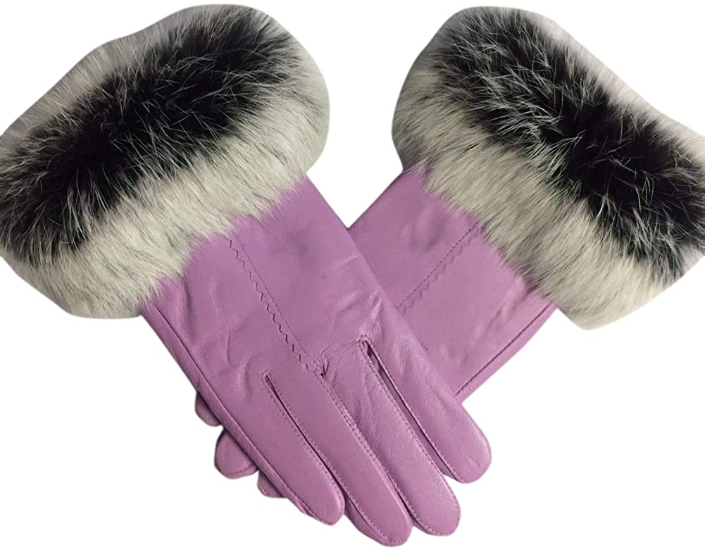 LeJulyeekay Women's Lambskin Leather Gloves Winter Driving Gloves with Fur Trim