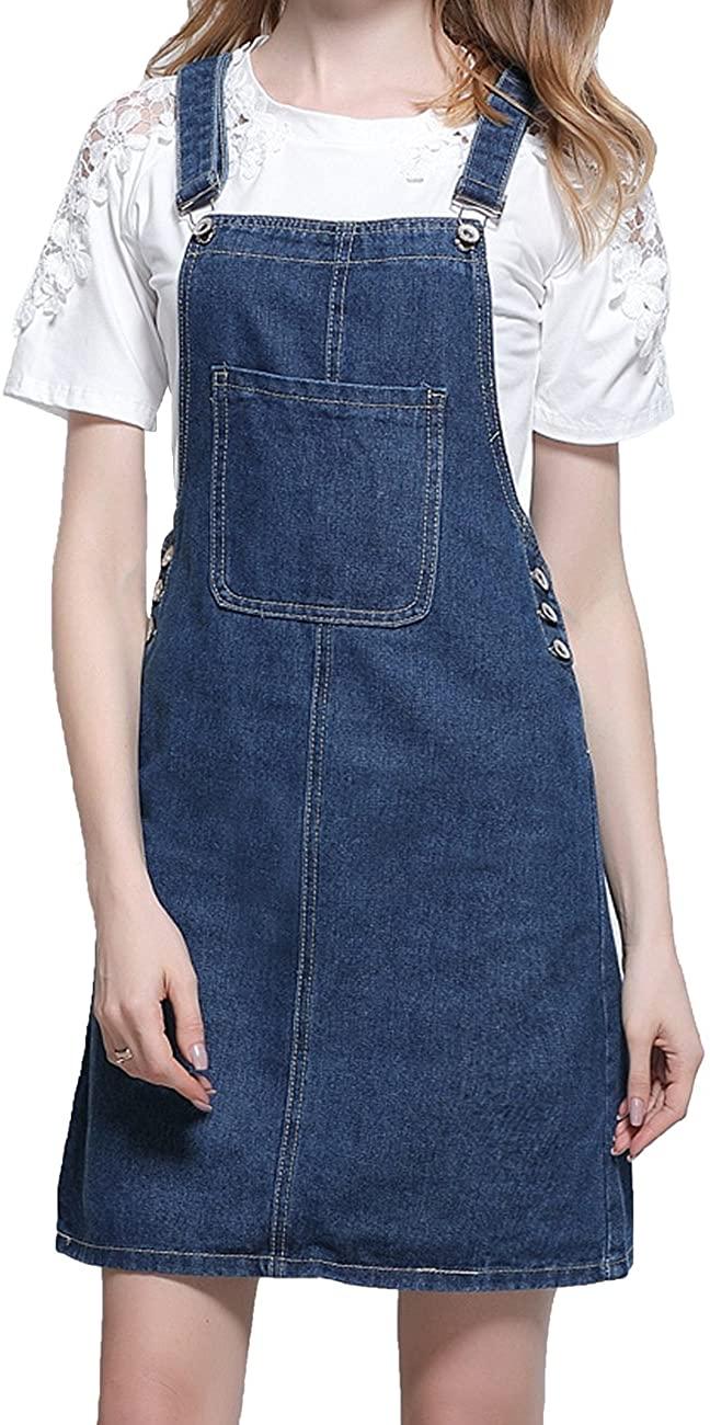 KJY Women's Casual A Line Denim Bib Overall Skirt