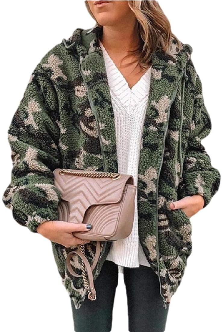 Womens Cardigan Simple Lamb Wool Hooded Camo Wool Trench Coat Cardigans