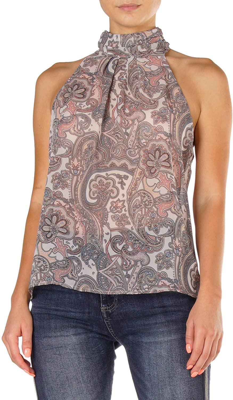 Elan Women's Printed Paisley Sleeveless Turtle Neck Blouse