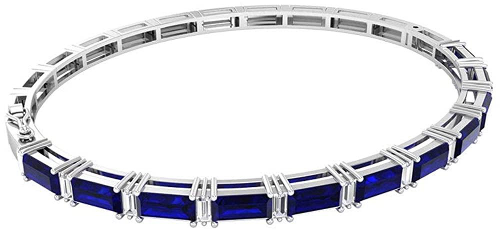 4.62 Ct SGL Certified Blue Sapphire Bracelet, 0.6 Ct Baguette Shape Diamond Tennis Bracelet, Baguette Shape Gemstone Bracelet, Bridal Charm Bracelet