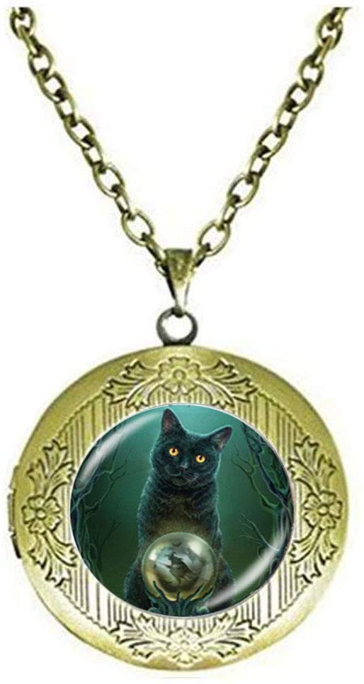 Wicca Cat Jewelry Pentagram Locket Necklace Pentacle Art Photo Jewelry Birthday Festival Gift Beautiful Gift