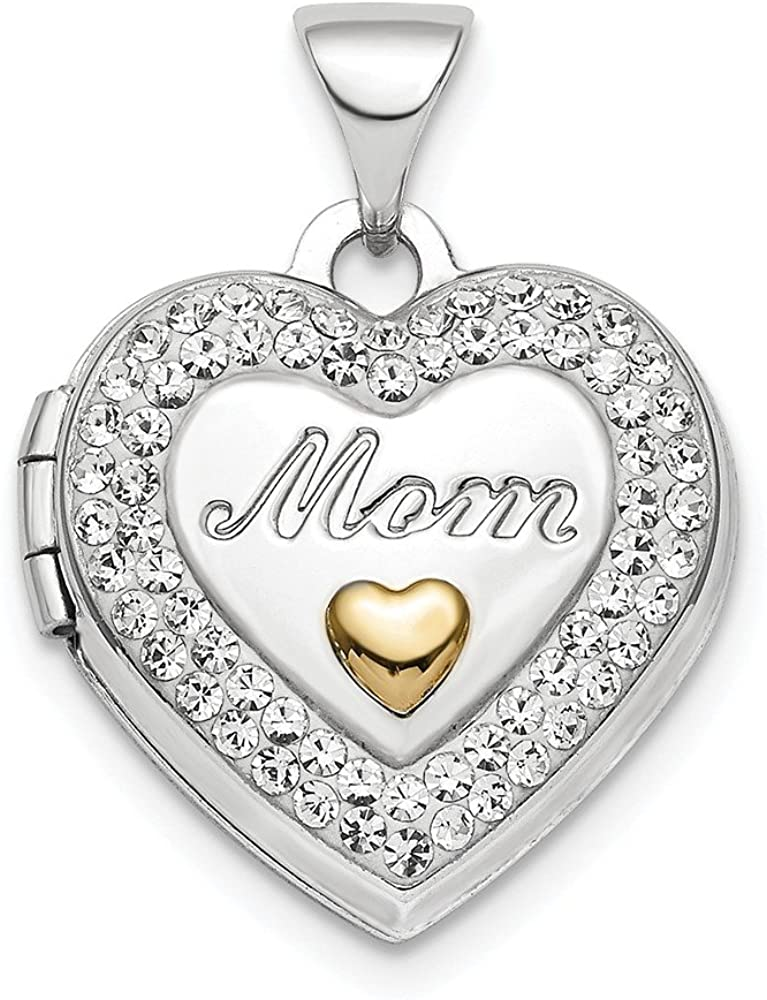 Solid 925 Sterling Silver Yellow Gold-Tone Preciosa Crystal Mom Locket Pendant - 16mm x 15mm