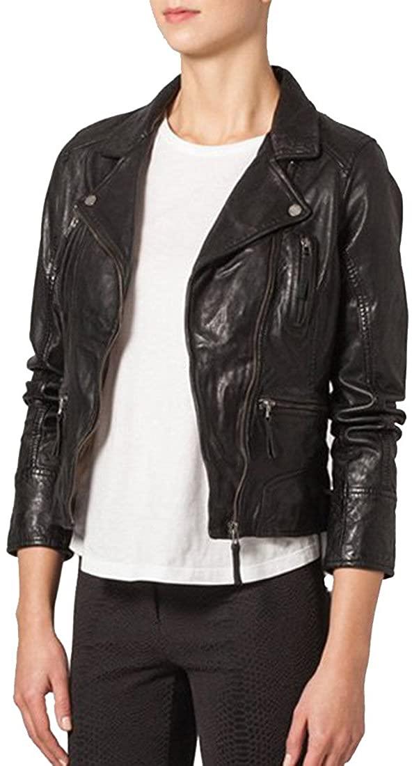 Genuine Soft Lambskin Leather Jacket for Womens Designer Wear NLT051