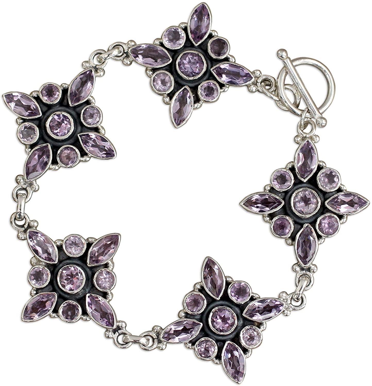 NOVICA Amethyst .925 Sterling Silver Link Bracelet, 7.75, Violet Constellation
