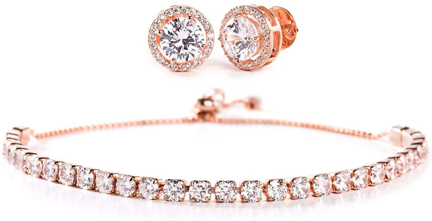 INSPIRED BY YOU. Sterling Silver Cubic Zirconia Adjustable Tennis Bracelet and Stud Bridal Earring Set for Women (Various Colors)