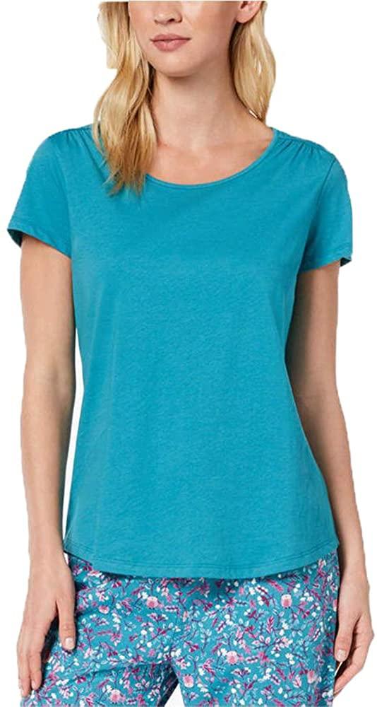 Charter Club Cotton Short-Sleeve Pajama Top, Pagoda Blue, Small