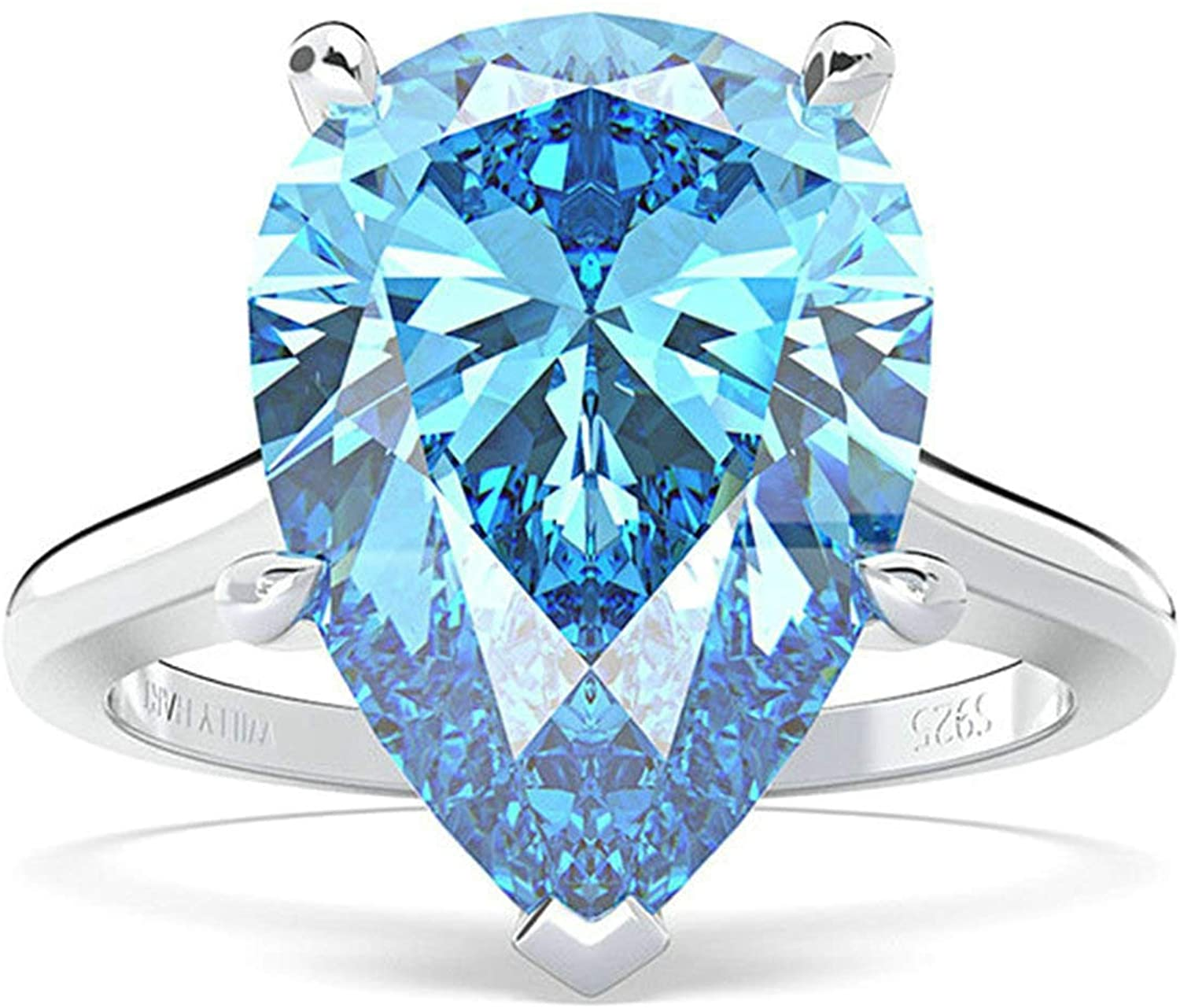 Bishilin Promise Rings for Women Silver Plated 14X10MM Pear Cut Light Blue Cubic Zorconia Wedding Engagement for Women