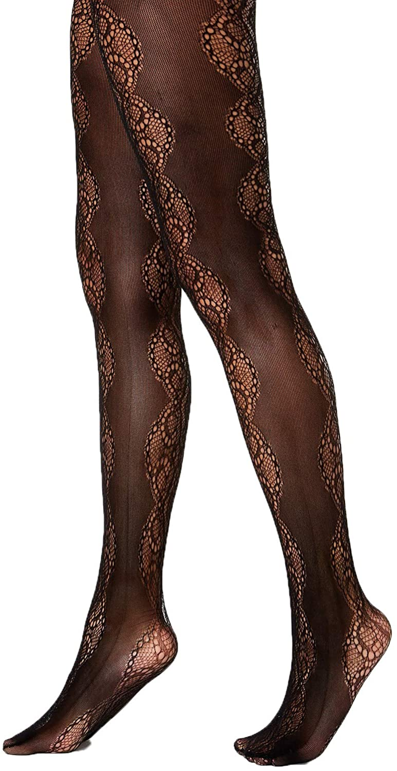 INC International Concepts Lace Pattern Tights Black
