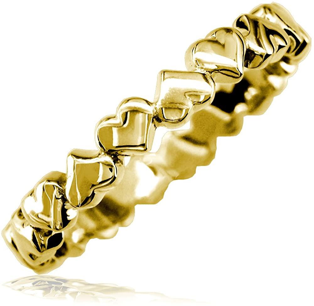 SZIRO Thin Eternity Hearts Stacker Ring, 3.3mm in 18k Yellow Gold