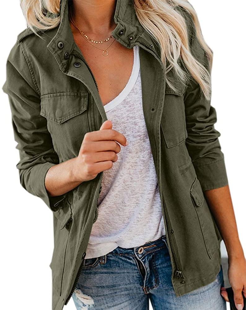 Womens UtilityJacket Zip Up Snap Button Lightweight Cargo Pocket Anorak Coat Outwear
