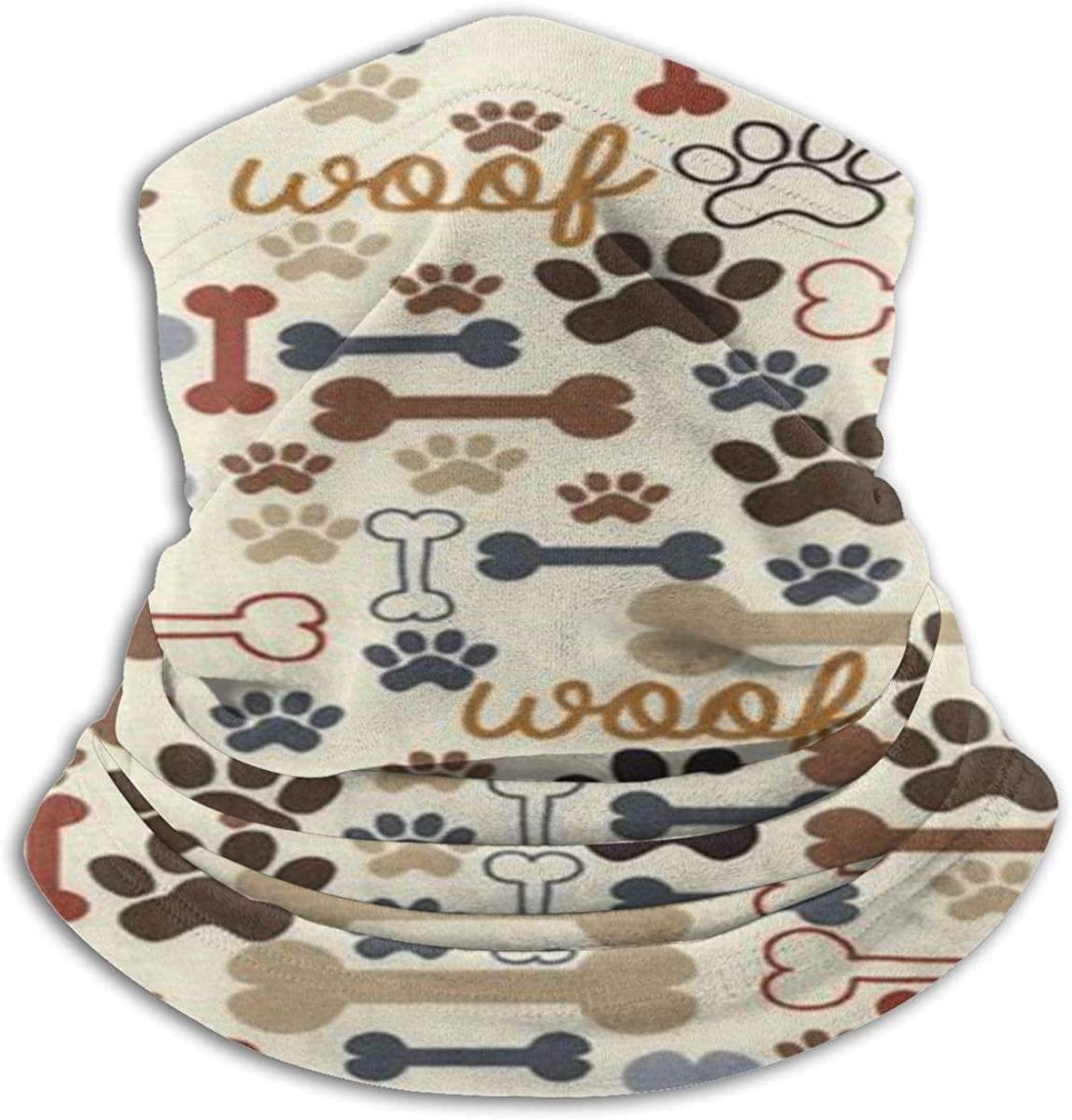 Dog Bones & Paw Prints Balaclava Womens Bandana Mens Balaclava,Neck Warmer,Face Mask,Collars Wristband