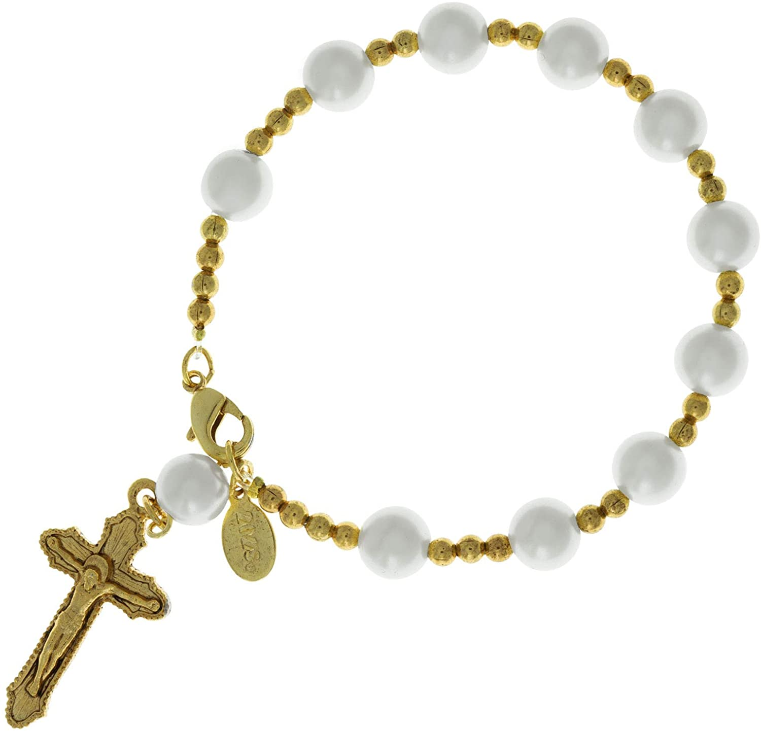 Symbols of Faith 14K Gold-Dipped Simulated Pearl Rosary Bracelet
