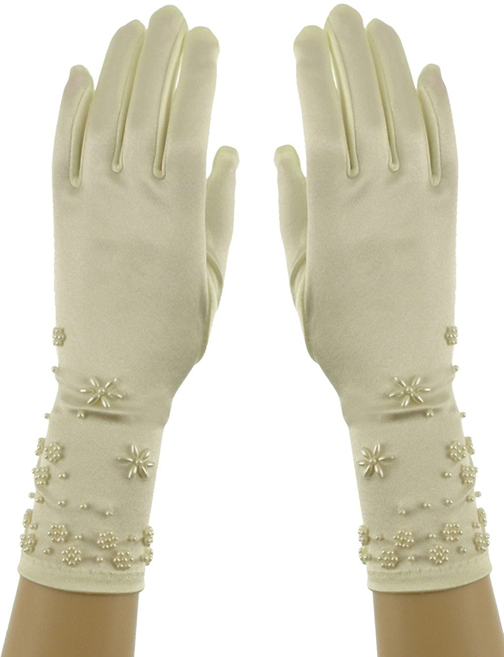 Above Wrist 11-Inch Faux Pearl Embroidery Shinny Satin Bridal Gloves Ivory
