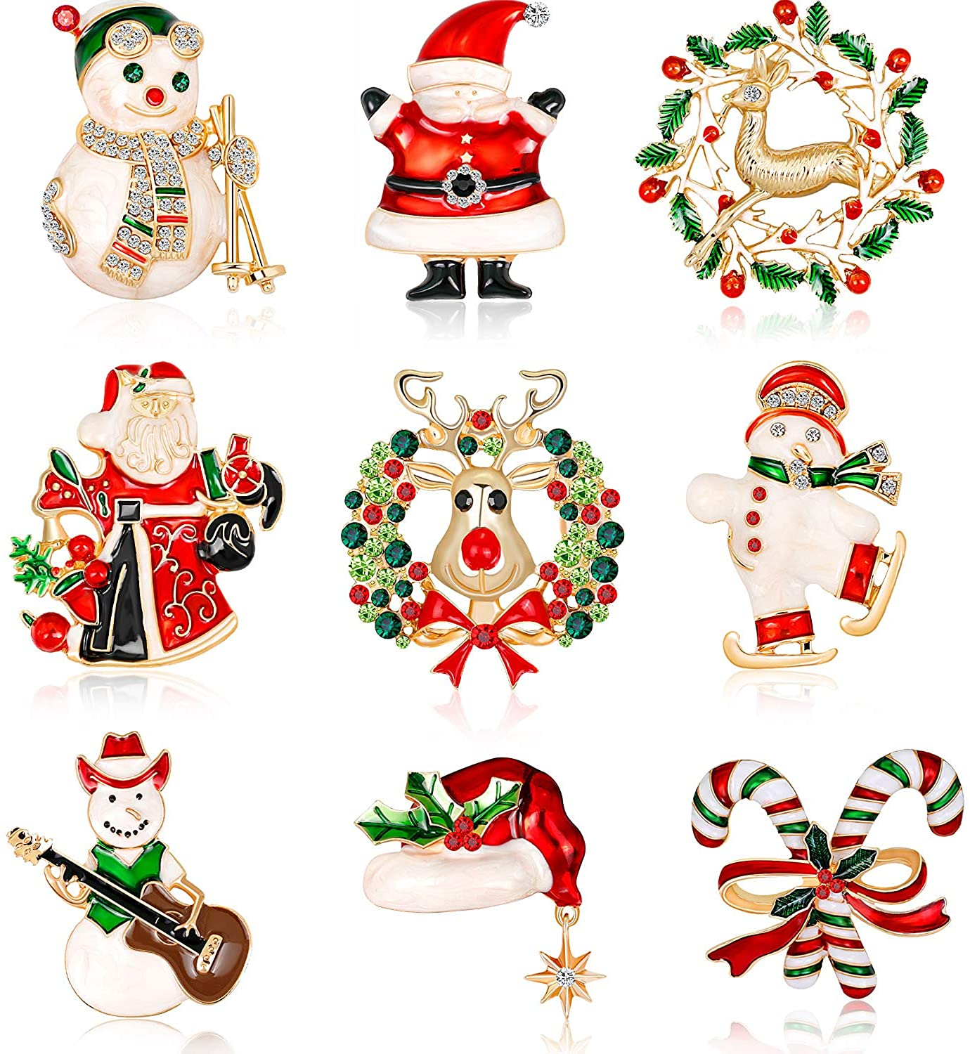 9 Pieces Christmas Brooch Pins Holiday Brooch for Woman Party
