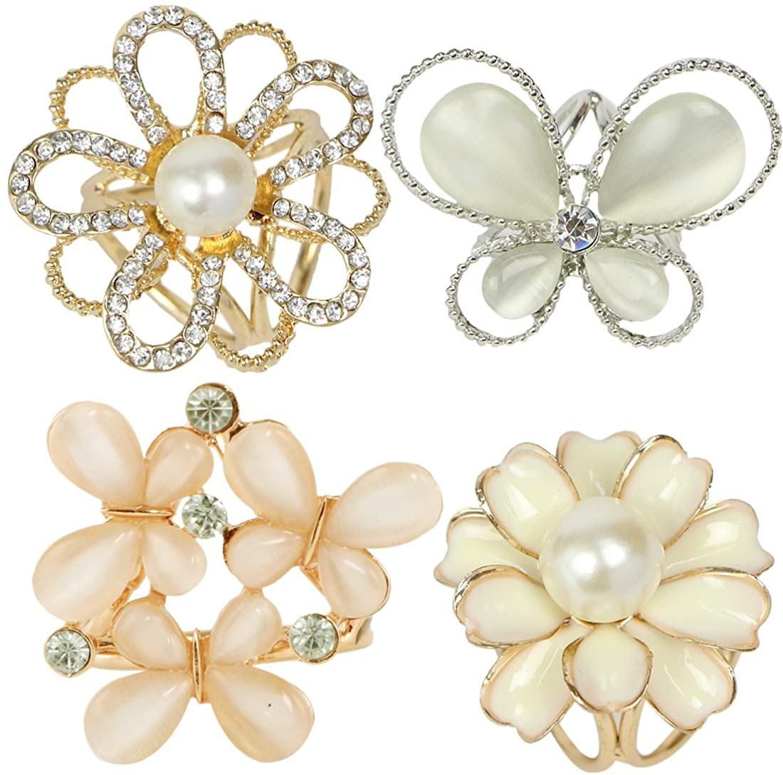 kilofly 4pc Women's Elegant Faux Pearl Crystal Rhinestone Scarf Ring Buckle Clip