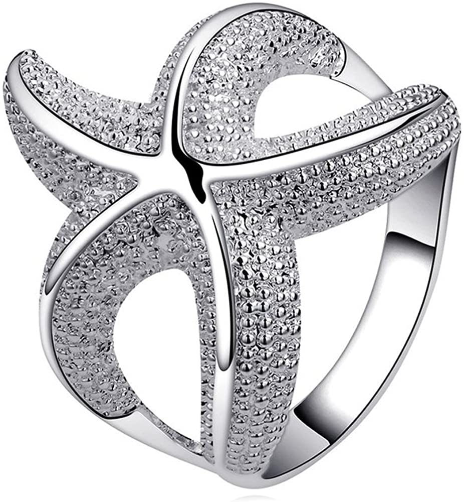 Sterling Silver Plated Brass Large Shiny Starfish Wrap Around Fashion Band Ring 6, 7, 8, 9