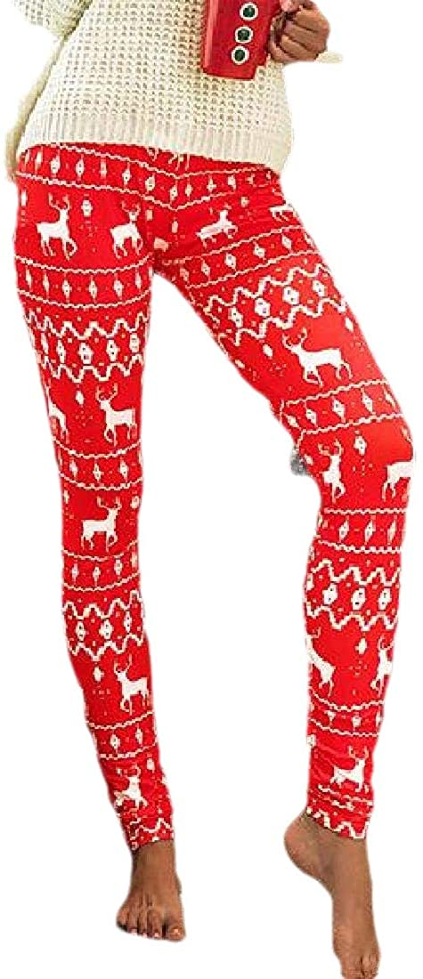 YONGM Womens Leggings Pants Christmas Floral Print Gym Sports Workout Legging