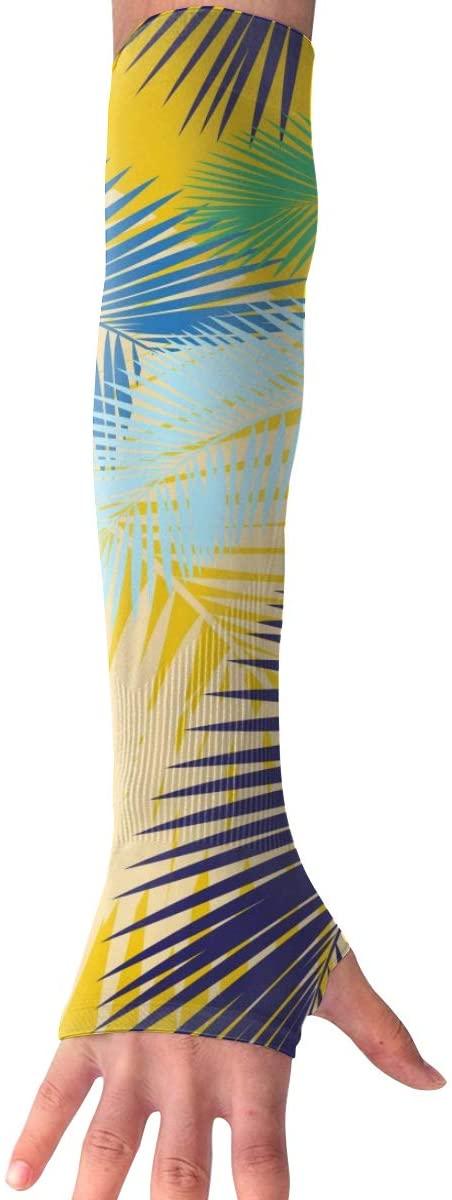 MASDUIH Color Palm Leaves Gloves Anti-uv Sun Protection Long Fingerless Arm Cooling Sleeve