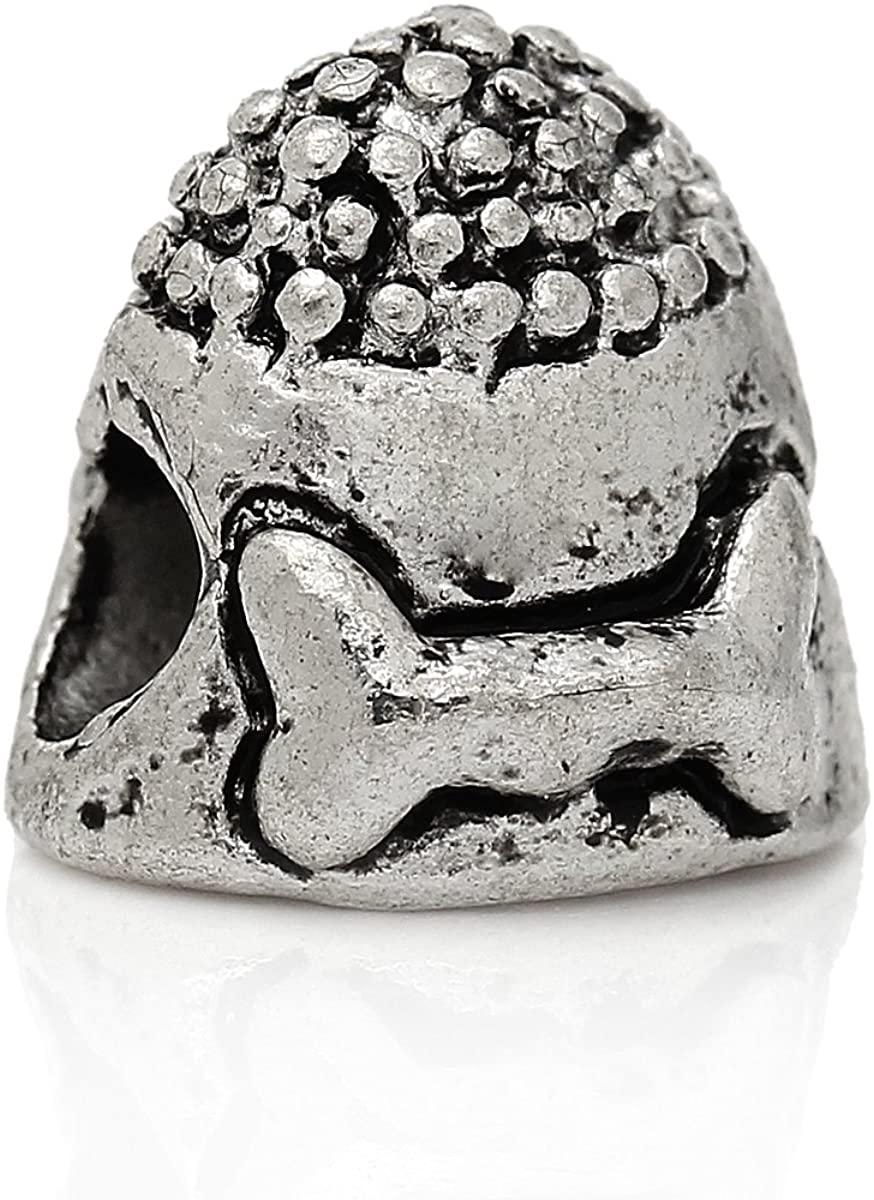 European Dog Bowl with Carved Bone Charm Bead Spacer for Snake Chain Charm Bracelet