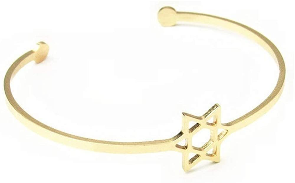 JOYID Stainless Steel Star of David Charm Bracelet Lucky Cuff Bangle Bracelet for Women Girls