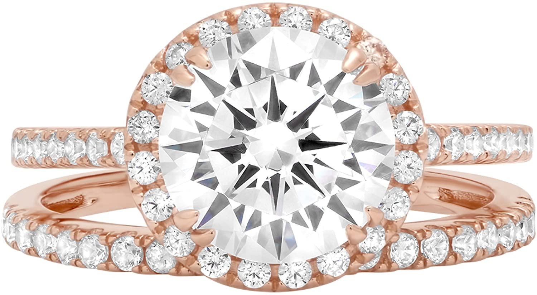 2.62ct Brilliant Round Cut Halo Bridal Engagement Statement Wedding Ring Band Set 14k Rose Gold