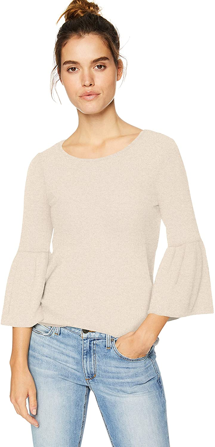 kensie Women's Plush Touch Bell Sleeve Top