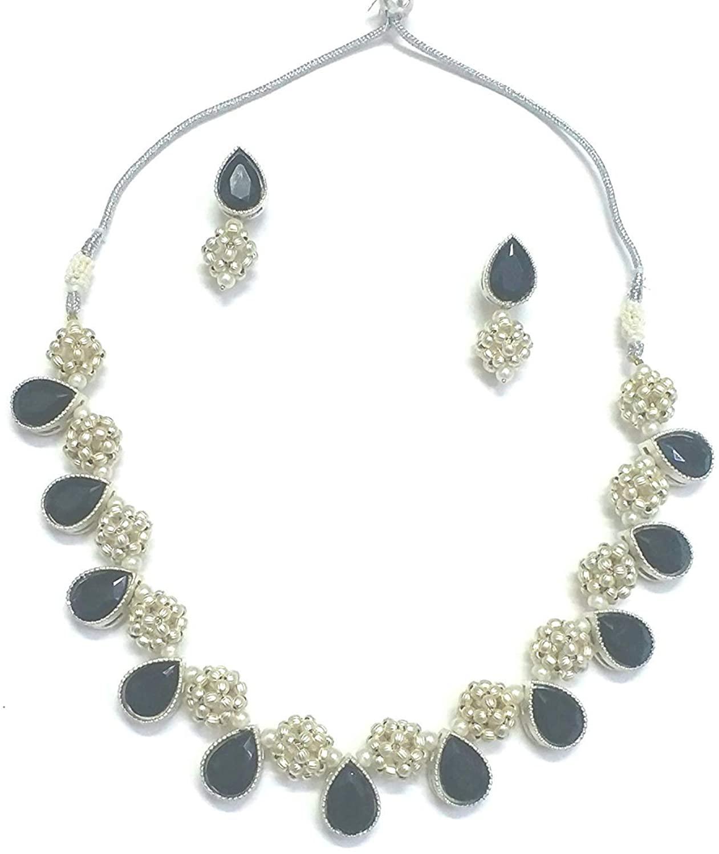 Trinket Mania Designer German Silver oxidised Brass Balls and Glass Stones Choker Necklace Set