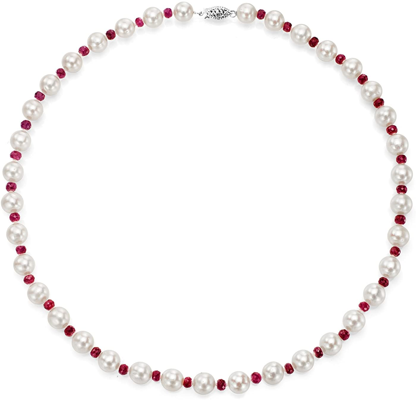 14K White Gold Freshwater Cultured White Pearl Necklace Simulated Gemstone Jewelry for Women 18 inch (Choice of Length)