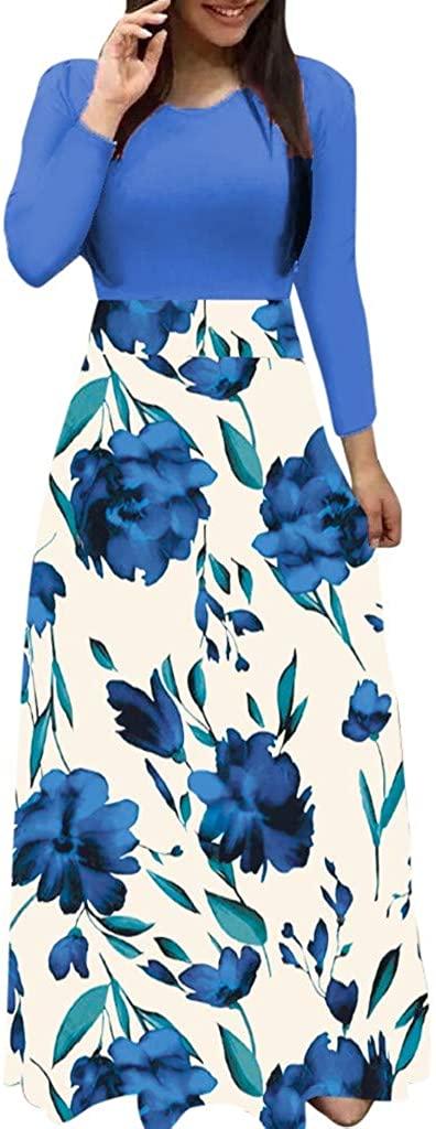 baskuwish Elegant Women's Maxi Dress Floral Printed Autumn Long Sleeves Casual Tunic Long Maxi Dress