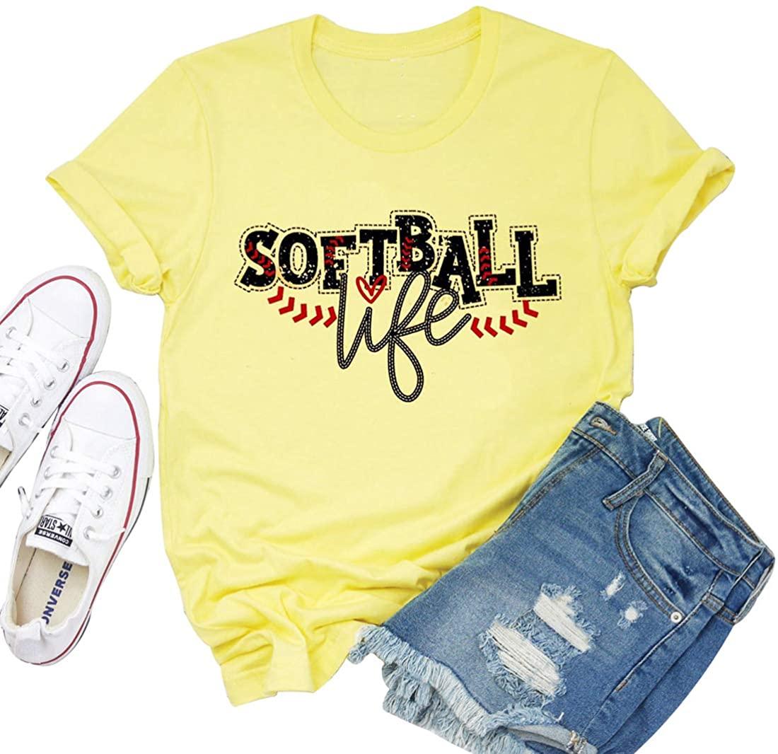 Baseball Shirts for Women Softball Letter Print Casual T-Shirts Tee Top Mom Gift