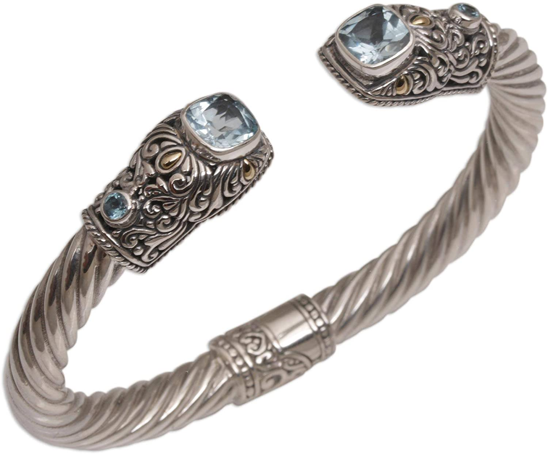 NOVICA Blue Topaz .925 Sterling Silver Cuff Bracelet 'Dazzling Crest'