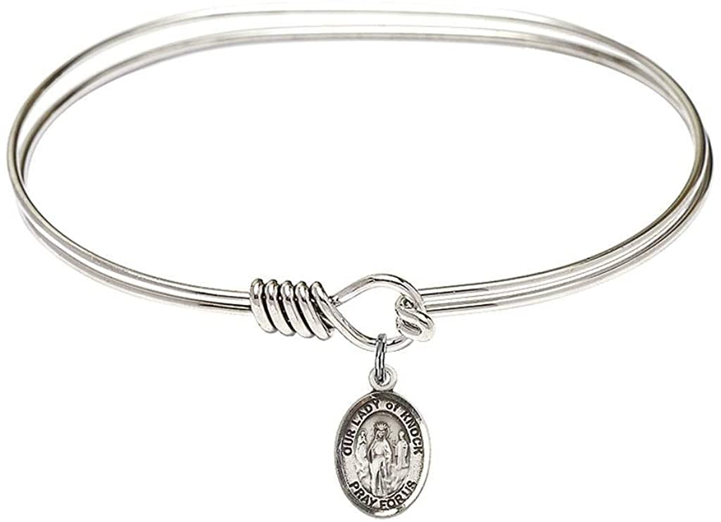 bliss 7 inch Oval Eye Hook Bangle Bracelet with a O/L of Knock Charm./Our Lady of of Knock is The Patron of Ireland. Memorial Day August 21st./Ireland