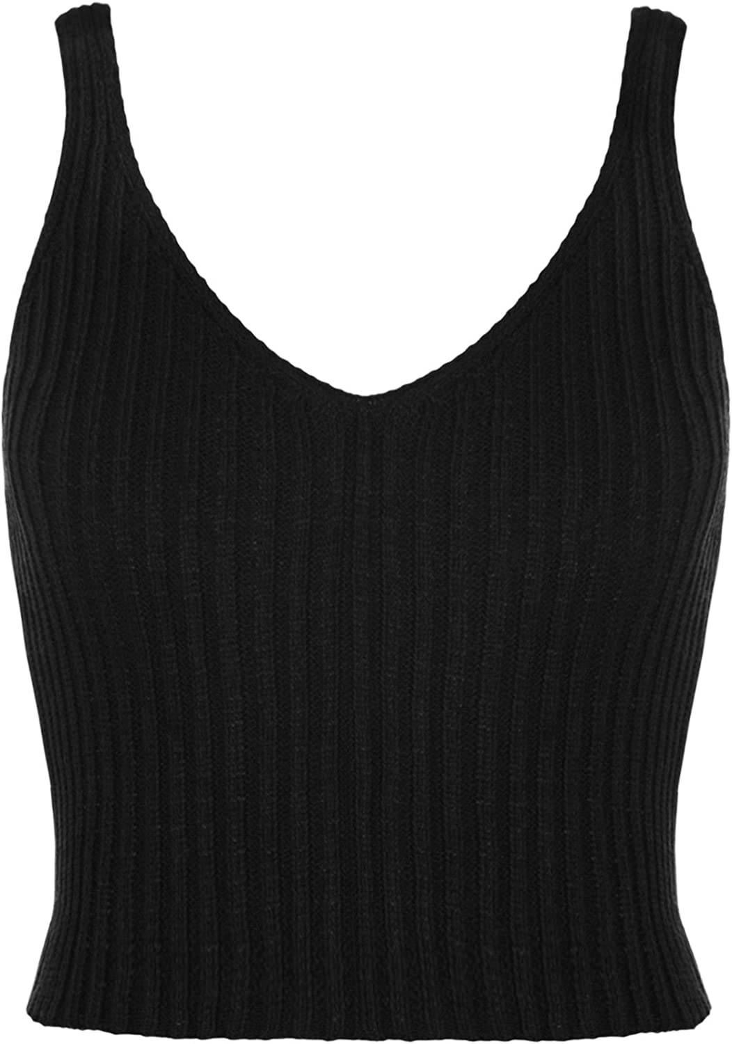 Janisramone Womens Ladies New V Neck Knitted Ribbed Plain Bralet Crop Top Sleeveless Summer Vest Top