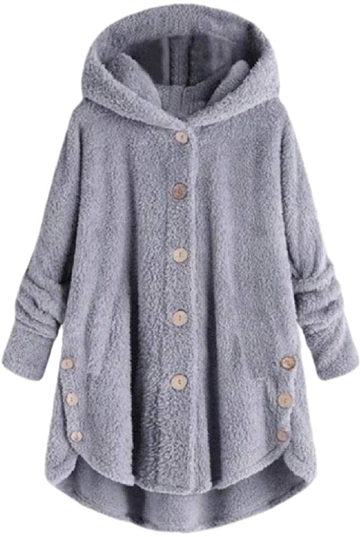 Womens Button Down Faux Fur Long Coat Jacket Hoodies Parka Cardigan Coats