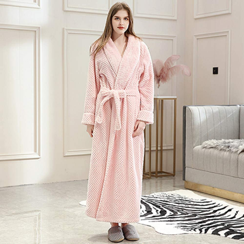 llwannr Bathrobe Robe Nightgown Sleep,Women Long Thick Warm Winter Super Bath Robe Lovers Kimono Bathrobe Men Dressing Gown Bride Wedding Bridesmaid Robes,Women Pink,L