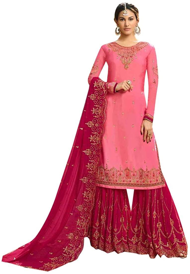 Pink Muslim Festive Fancy Party wear Satin Georgette with Sawrovski work Garara Suit Pakistani style Women Indian dress Semi-stitch 8598