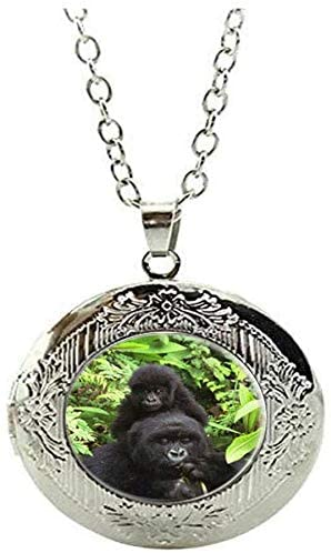 Gorilla Locket Necklace Nature Art Photo Jewelry Handmade Baby Gorilla Jewelry
