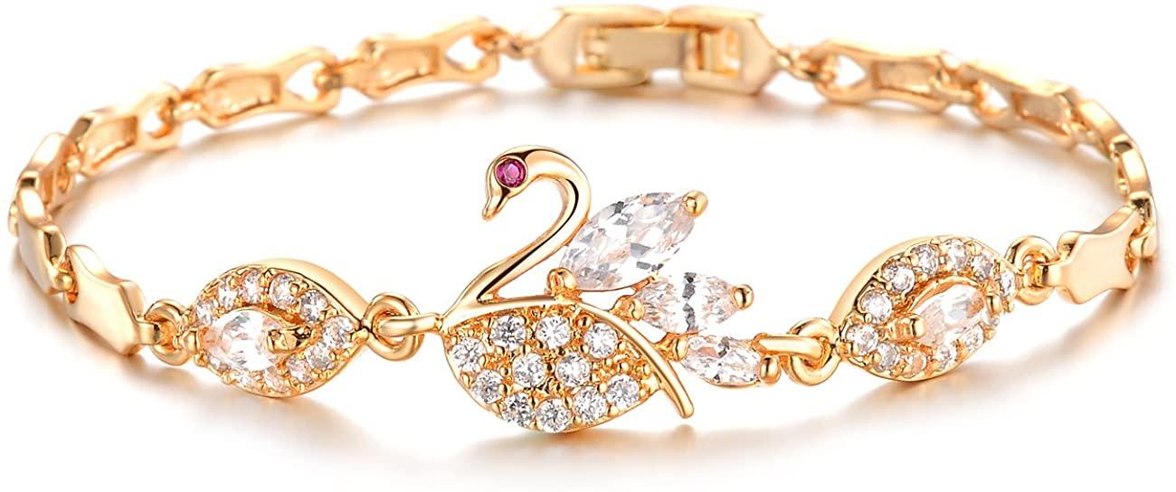 Ellalin Swan Design Copper Plating 18K Yellow Gold Bracelet Cubic Zirconia Bracelet for Women Jewelry