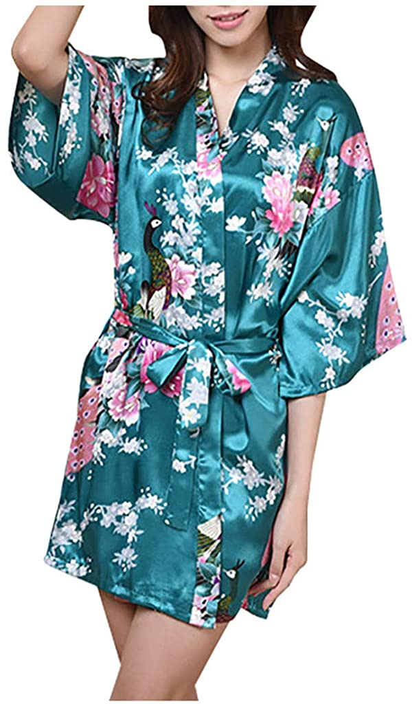 VEFSU Bride Bridesmaid Wedding Bathrobe with Belt for Women Pajamas Floral Printed Sleepwear Robe