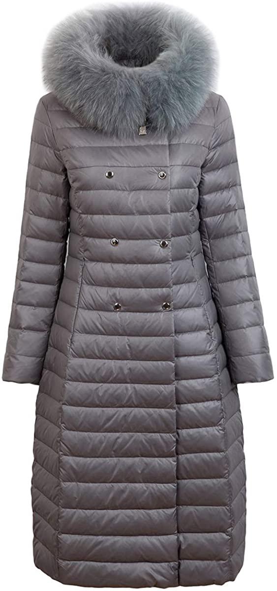 Newdeve Women's Down Jacket Long Outwear Hooded with Fox Fur Parka Overcoat