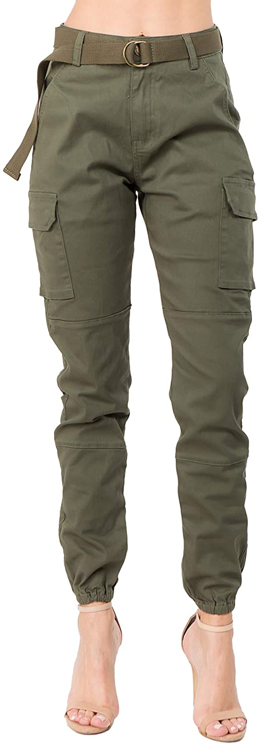 Love Moda Women's Trendy Slim Fit Belted Cargo Pants with Stretchy Spandex