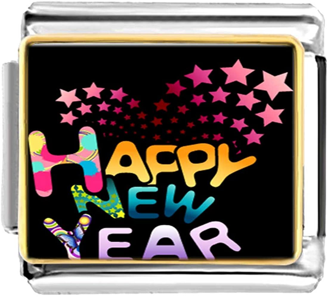 GiftJewelryShop Gold Plated Happy New Year Bracelet Link Photo Italian Charms